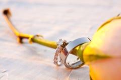 Primer de los anillos de bodas Imagenes de archivo