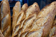 Primer de los Baguettes en una cesta de la panadería imagenes de archivo