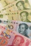 Primer de los billetes de banco de Yuan Renminbi del chino Imagenes de archivo
