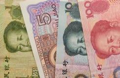 Primer de los billetes de banco de Yuan Renminbi del chino Fotografía de archivo libre de regalías