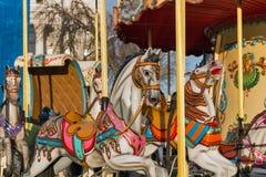 Primer de los caballos del carrusel del vintage Foto de archivo