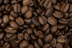 Primer de los granos de café asados Imagenes de archivo
