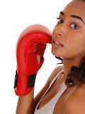 Primer de los guantes de boxeo de la mujer que llevan Imágenes de archivo libres de regalías