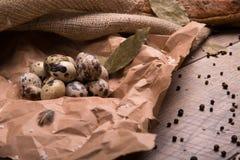 Primer de los huevos de codornices nutritivos, secado encima de las hojas de la bahía y de diversos condimentos en un fondo de ma Imágenes de archivo libres de regalías