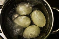Primer de los huevos de ebullición en un agua hirvienda del cazo con un fondo suave fotografía de archivo