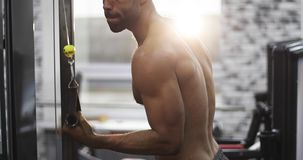 Primer de los músculos de un hombre negro almacen de metraje de vídeo