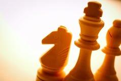 Primer de los pedazos de ajedrez de madera del vintage Imagen de archivo libre de regalías