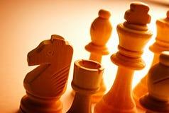 Primer de los pedazos de ajedrez de madera del vintage Imagen de archivo