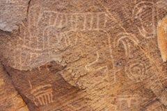 Primer de los petroglifos Fotos de archivo libres de regalías