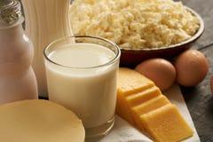 Primer de los productos lácteos Fotografía de archivo libre de regalías
