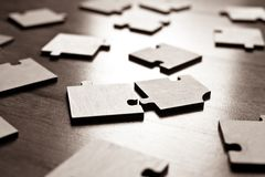 Primer de los rompecabezas de rompecabezas Fotografía de archivo libre de regalías