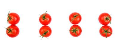 Primer de los tomates rojos brillantes orgánicos, jugosos, frescos, saludables aislados en un fondo blanco, visión superior Tomat Fotografía de archivo libre de regalías