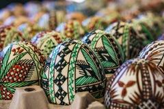 Primer de madera adornada hecho en fábrica, huevo de Pascua Concepto Eas Foto de archivo