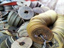 Primer de monedas chinas antiguas imágenes de archivo libres de regalías