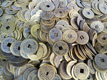 Primer de monedas chinas antiguas imagen de archivo libre de regalías