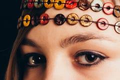 Primer de ojos marrones Imagen de archivo