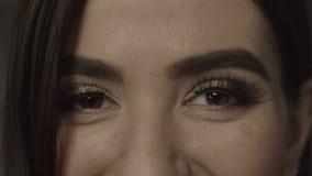 Primer de ojos marrones femeninos con la igualación de maquillaje almacen de video