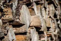 Primer de pedazos de la madera de abedul Foto de archivo libre de regalías
