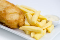 Primer de pescado frito con patatas fritas estropeados con la salsa de tártaro en blanco Imagenes de archivo