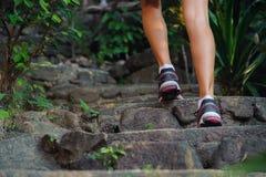 Primer de pies femeninos en las zapatillas de deporte que caminan al aire libre imagen de archivo