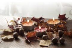 Primer de quemar velas coloridas y hojas de otoño y bellotas secas del roble rojo septentrional y del collar ambarino Foto de archivo libre de regalías