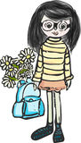 Primer de septiembre Paseo de la muchacha Chica ilustración del vector