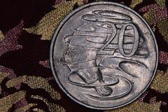 Primer de un australiano moneda de 20 centavos Imágenes de archivo libres de regalías
