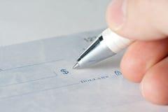 Primer de un cheque Imágenes de archivo libres de regalías