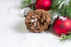 Primer de un cono del pino en nieve con la rama de árbol de pino y Ornamen imagenes de archivo