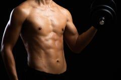 Primer de un cuerpo de la aptitud de la fuerza con pesa de gimnasia Hombre joven apto con el torso hermoso Culturista del princip fotos de archivo
