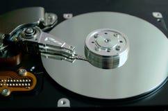 Primer de un disco duro abierto del ordenador Fotografía de archivo libre de regalías