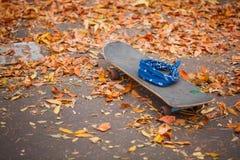 Primer de un monopatín en la tierra con las hojas de otoño Imagenes de archivo