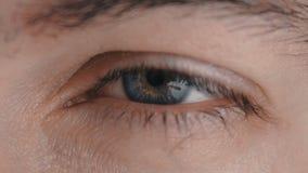 Primer de un ojo masculino del ` s almacen de video