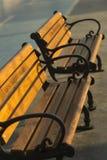 Primer de un par de bancos de madera de la calle del ironcast debajo del sol de la mañana con un carril de bicicleta en el fondo imagen de archivo libre de regalías