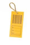Primer de un precio con código de barras aislado en el backgrou blanco Foto de archivo libre de regalías