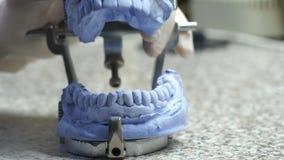 Primer de un técnico dental que hace de la dentadura en un laboratorio dental metrajes