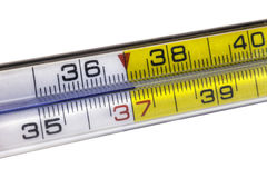 Primer de un termómetro Imagenes de archivo