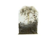 Primer de una bolsita de té mojada usada Imagenes de archivo