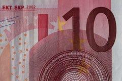 Primer de una cuenta euro usada de los billetes 10 Imágenes de archivo libres de regalías