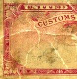 Primer de una etiqueta engomada de las aduanas Fotografía de archivo libre de regalías