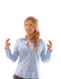 Primer de una hembra joven con los dedos cruzados foto de archivo libre de regalías