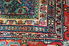 Primer de una manta oriental con adorno de ángulo recto Foto de archivo libre de regalías