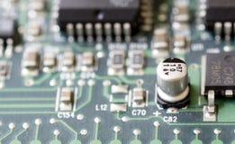 Primer de una placa de circuito impresa Foto de archivo libre de regalías