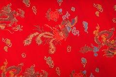Primer de una tela china sedosa roja (processe filtrado de la imagen foto de archivo libre de regalías