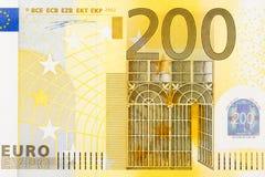 Primer del billete de banco del euro de la parte 200 Foto de archivo