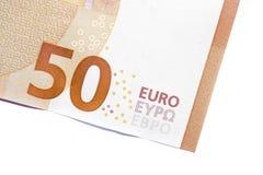 Primer del billete de banco del euro cincuenta, Foto de archivo