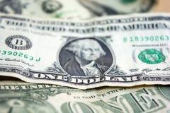 Primer del billete de dólar de los E.E.U.U. uno usd de billete de banco Retrato de George Washington Dinero de Estados Unidos Foto de archivo libre de regalías
