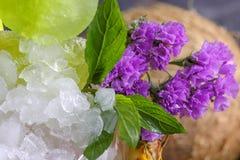 Primer del cóctel del hielo en un vidrio de la piña de la bebida de restauración con los cubos de hielo, flores, hojas verdes de  imagen de archivo libre de regalías