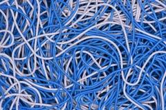 Primer del cable y del alambre en la red de ordenadores Fotografía de archivo libre de regalías