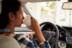 Primer del café de consumición del conductor femenino hispánico en coche Fotos de archivo